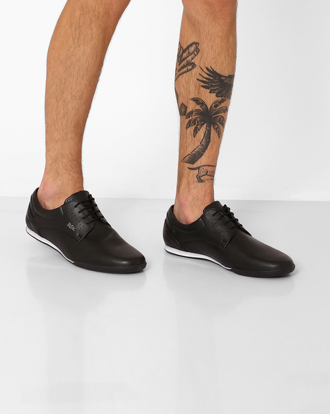 Panelled Lace-Up Shoes By BUCKAROO ( Black )
