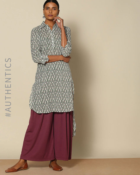 Handblock Print High-Low Kurta By Lyla ( Multi )