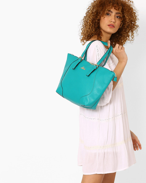 Textured Tote Bag By Lavie ( Turquoise )