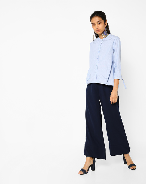 Schiffli Embroidered High-Low Shirt By AJIO ( Blue )