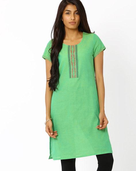 Handwoven South Cotton Kurta By AVAASA MIX N' MATCH ( Green )