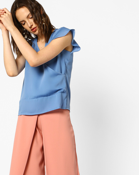 Surplice-Neck Top With Ruffled Sleeves By AJIO ( Blue )