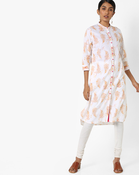 Printed Kurta With Mandarin Collar By AJIO ( White )