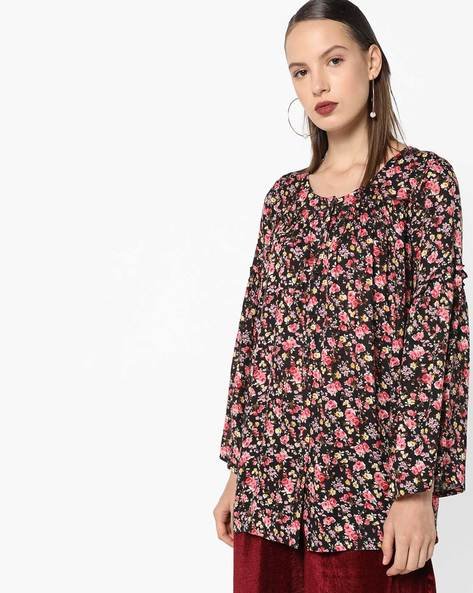 Floral Shirt Top With Bell Sleeves By AJIO ( Black )