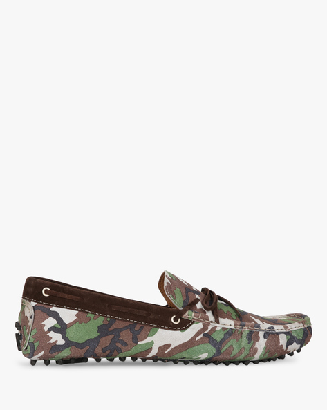 Camouflage Print N9-Treated Suede Boat Shoes By AJIO ( Olive )