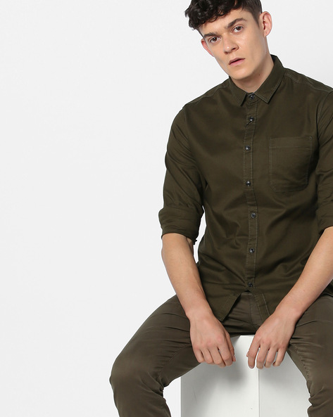 Shirt With Patch Pocket By AJIO ( Olive )