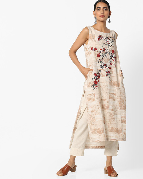 Floral Print Sleeveless Kurta By Project Eve IW Casual ( Natural )