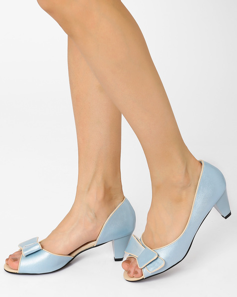 Peep-Toes With Stylised Bow By AJIO ( Lightblue )