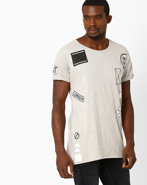 Uneven Print T-shirt By ADAMO LONDON ( Greymelange )