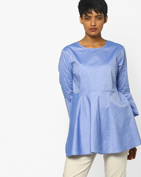 Chambray Tunic With Bell Sleeves By PE WW Work ( Blue )