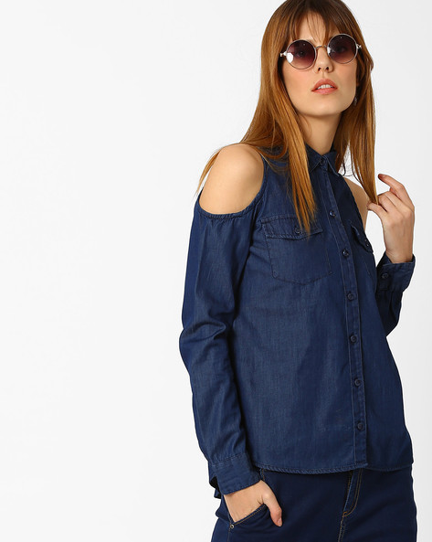 Cold-Shoulder Denim Shirt By AJIO ( Blue )