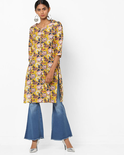 Floral Print Scoop-Neck Straight Kurta By Melange By Lifestyle ( Lime )