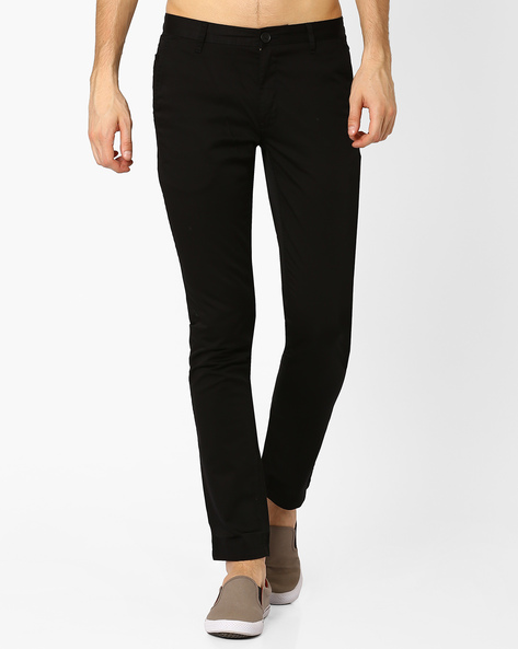 Slim Fit Cotton Trousers By JOHN PLAYERS ( Black )