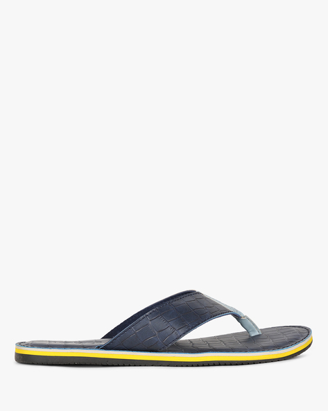 Reptilian Thong-Style Slippers With Contrast Midsole By Estd.1977 ( Blue )