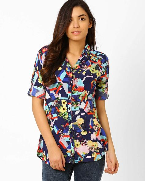 Printed Shirt With Roll-up Sleeves By Recap ( Navy )
