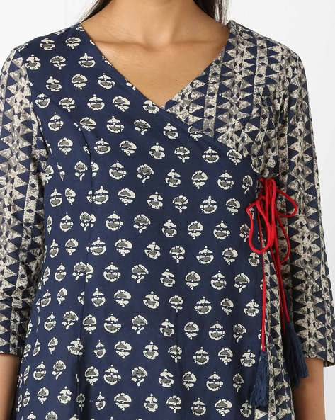 Printed Angrakha Kurta With Tassel Tie-Up By AJIO ( Blue )