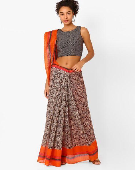 Bhagalpuri Art Silk Printed Saree By Hitansh ( Orange )