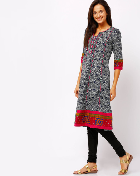 Printed Panelled Kurta With Contrast Piping By AVAASA MIX N' MATCH ( Blue )