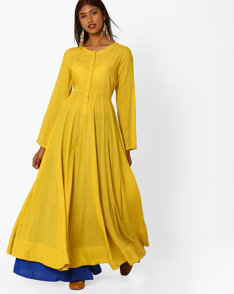 Maxi Dress With Button Placket By Khimsariya ( Yellow )