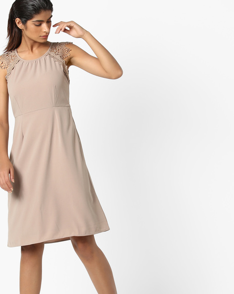 Fit & Flare Dress With Crochet Insets By Vero Moda ( Grey )