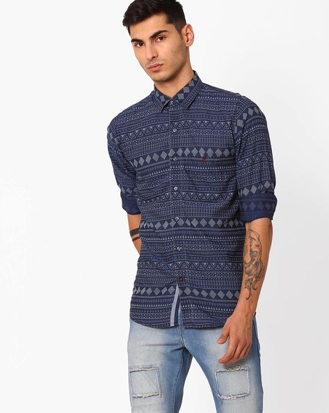 Slim Fit Aztec Print Shirt By CRIMSOUNE CLUB ( Black )