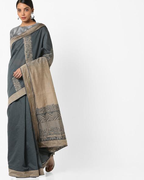 Half & Half Saree With Contrast Border By Parmita ( Grey )