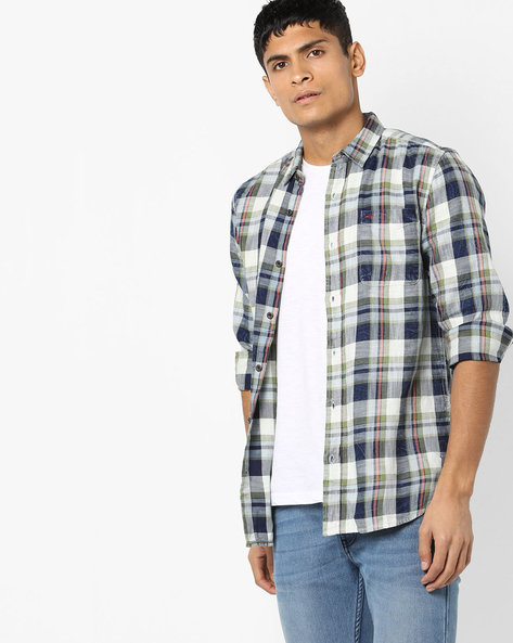 Checked Slim Fit Shirt With Washed Effect By Jack & Jones ( Green )