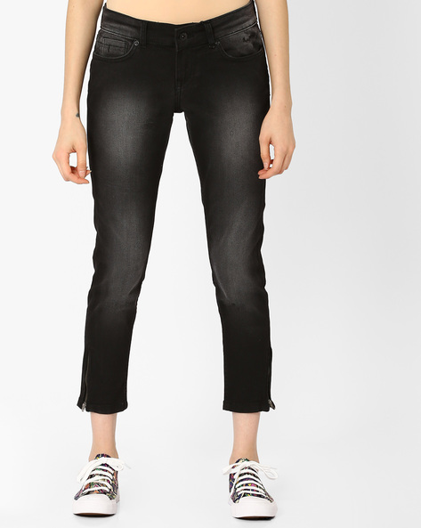 Skinny Jeans With Zipped Hems By Pepe Jeans ( Black )