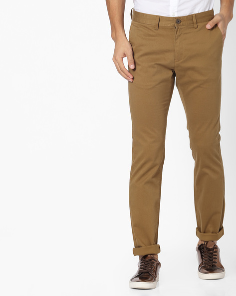 Tapered Flat-Front Chinos By NETPLAY ( Khaki )