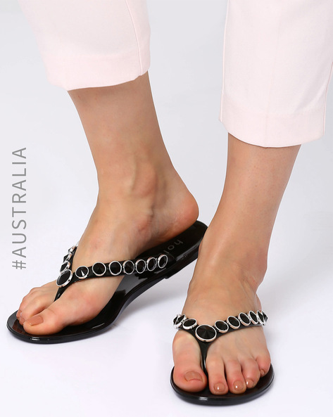 Embellished Jelly Beachside Flats By Holster ( Black )