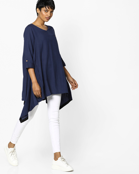 Tunic With Asymmetric Hem By PE IW Casual ( Indigo )