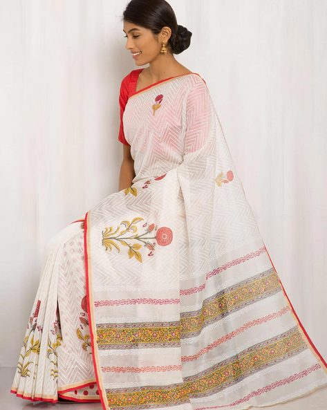 Hand Block Print Chanderi Saree By Keri ( White ) - 460014713001
