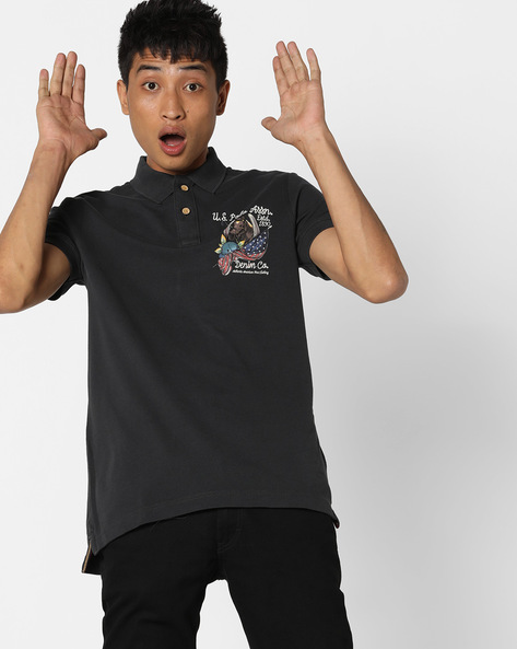 Pique Knit Polo T-shirt With Back Print By US POLO ( Multi )