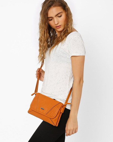 Textured Sling Bag With Adjustable Strap By Lavie ( Mustard )