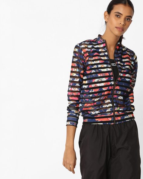 Floral Print Jacket With Net Inserts By Sassafras ( Navyblue )
