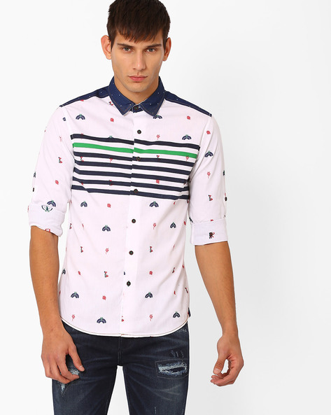 Slim Fit Printed Shirt By The Indian Garage Co ( White )