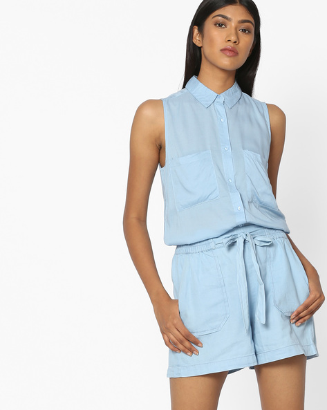 Sleeveless Shirt With Patch Pockets By Pink Woman ( Blue )