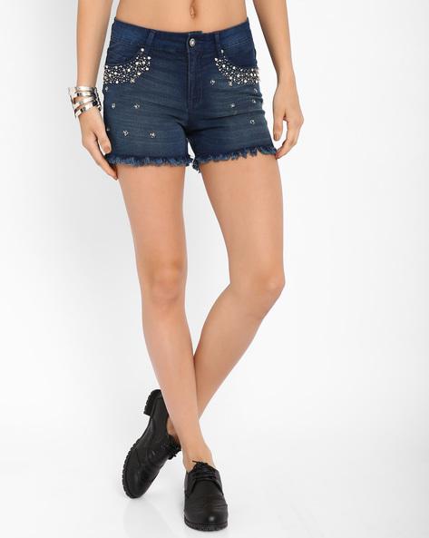 Embellished Denim Shorts By AJIO ( Blue )