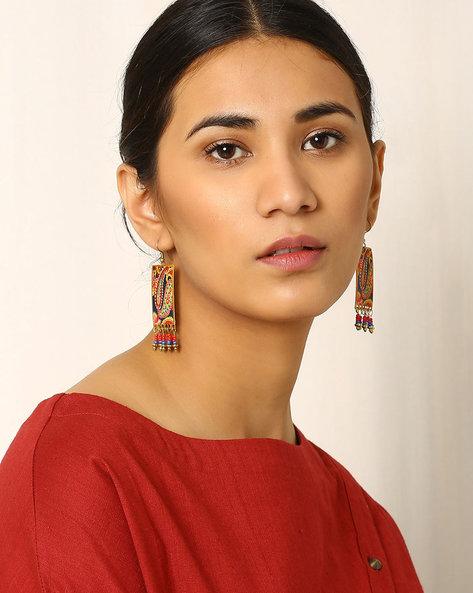 Paisley Print Brass Drop-Earrings By Indie Picks ( Multi )