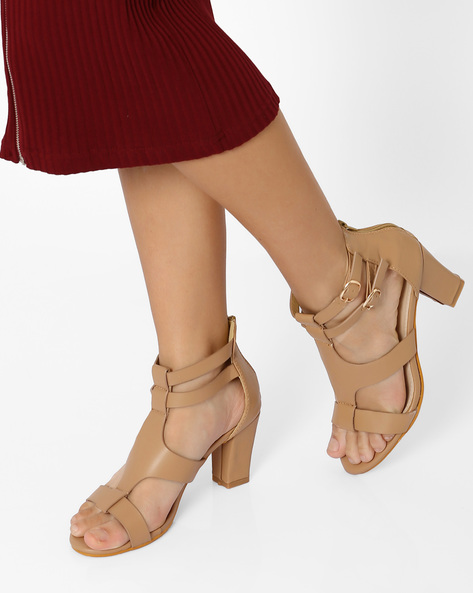 Sandals With Chunky Heels By MFT Couture ( Beige )