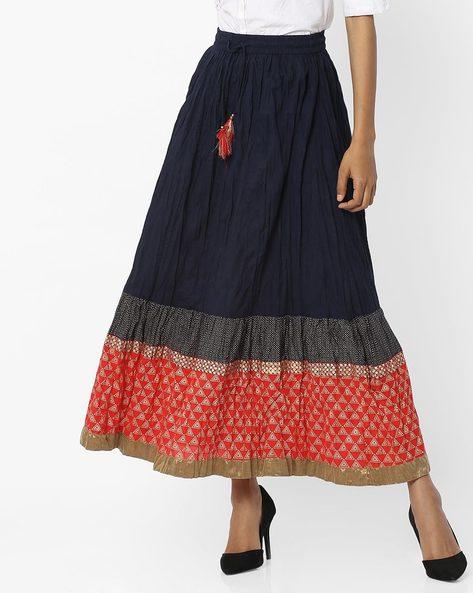 Cotton Maxi Skirt By AVAASA MIX N' MATCH ( Navy )