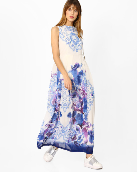 Printed Sleeveless Maxi Dress By Rain & Rainbow ( Blue )