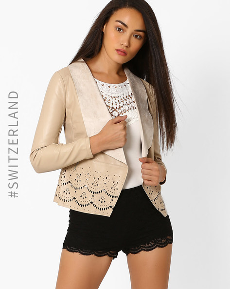 Jacket With Waterfall Lapel & Laser Cut-Outs By TALLY WEiJL ( Beige )