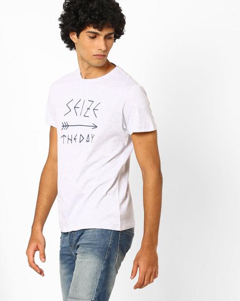 Slim Fit Graphic Print Summer T-shirt By AJIO ( Greymelange ) - 460043451006