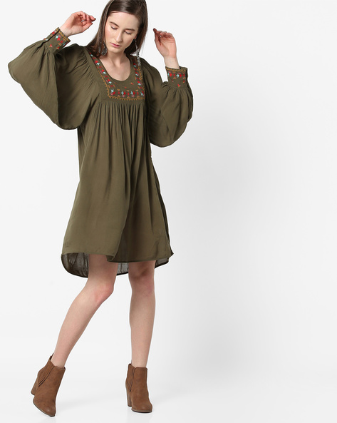 Embroidered Shift Dress With Bishop Sleeves By Rena Love ( Olive )