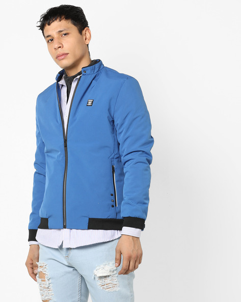 Zip-Front Jacket With Band Collar By Fort Collins ( Royalblue )