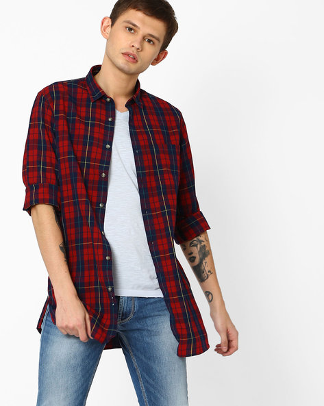 Checked Shirt With Zip Detail By ADAMO LONDON ( Red )