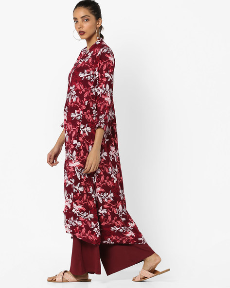 Floral Printed Straight Kurta By Project Eve IW Casual ( Maroon )