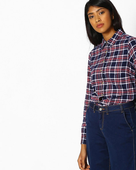Checked Shirt With Patch Pocket By DNMX ( Red )