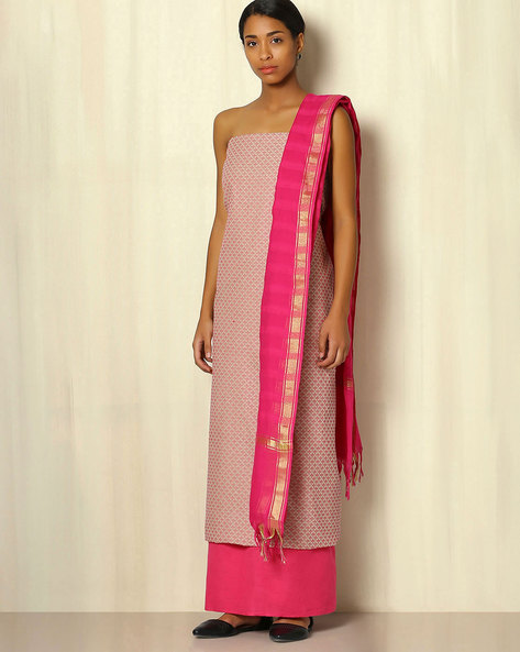 South Cotton Dress Material Set With Dobby Design By Indie Picks ( Pink )